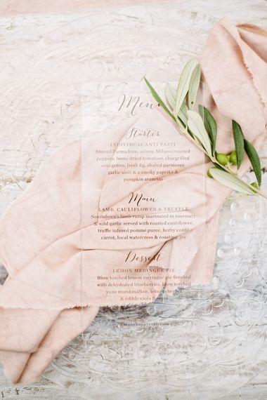 Acrylic Menu Card Wedding Stationery | Katrina Otter Weddings | Duchess & Butler Tableware | Dominique Bader Photography