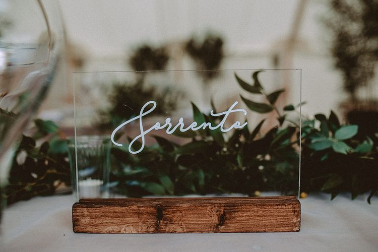 Acrylic Table Decor Wedding Sign | Elegant Black Tie Wedding At Dorfold Hall | Carla Blain Photography