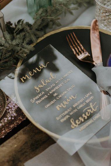 Acrylic Menu Card Wedding Stationery by Sugar Spice Designs | Woodland Bohemian Luxe Inspiration | Lola Rose Photography & Film