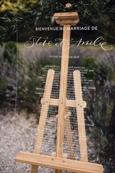 Acrylic Table Plan | Chateau La Durantie Wedding Planned by Helaina Storey The Dordogne, France | Samuel Docker Photography