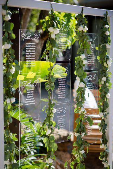 Acrylic Table Plan | Outdoor Ibiza Destination Wedding | Gypsy Westwood Photography | Infin8 Film