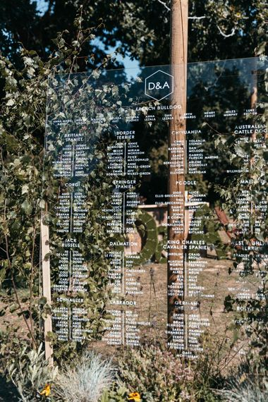 Large Acrylic Table Plan | Marquee Wedding in Jersey | Photography by Max Burnett
