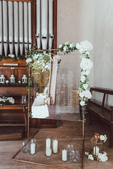 Acrylic Wedding Sign on Copper Frame with Flowers by Passion for Flowers |  Longbourn Estate Barn | The Vedrines Photography