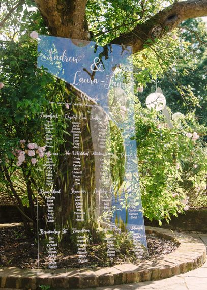 Large Standing Acrylic Table Plan | Classic Pink & White Wedding at Northbrook Park, Surrey | Tell Your Story Photography | Yours Truly Wedding Films