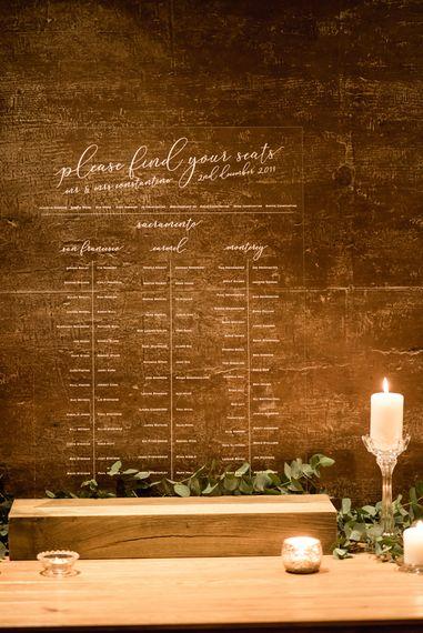 Retro Press Acrylic Seating Chart | Wedding Decor | Elmore Court Wedding Venue