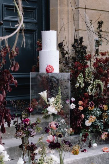 Wedding Cake on Acrylic Tower | Pynes House Luxury Wedding Venue | Exclusive Hire Wedding Venue In Devon | Coco Wedding Venues Styling | Katrina Otter Wedding Planning | Jay Archer Floral Design | Rebecca Goddard Photography