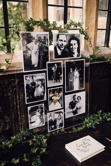 Acrylic Family Portrait Wedding Decor | Elegant Monochrome Wedding At Brympton House | Samuel Docker Photography