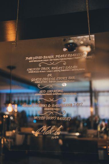 Hanging Acrylic Menu Sign | Glamorous Wedding at Great John Street Hotel Manchester | Nicola Thompson Photography