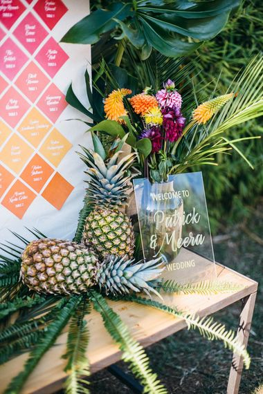 Acrylic Wedding Welcome Sign | Wedding Decor | Tropical Themed Wedding in Costa Brava at Masia Ribas With Planning & Styling by Detallerie And Images from Diez & Bordons
