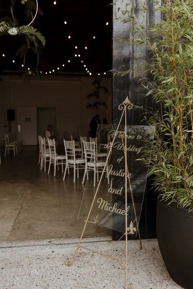 Acrylic Wedding Welcome Sign with Gold Calligraphy & Easel Stand | Wedding Decor | Green And White Luxe, City Wedding at Trinity Buoy Wharf | The Curries Photography