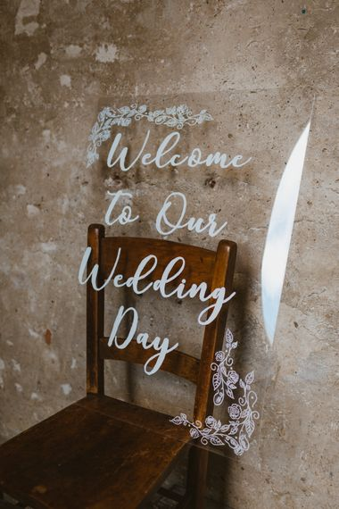 Acrylic Welcome To Our Wedding Day Sign | Wedding Decor | Asylum London Wedding Ceremony Venue | Photography By The Curries | Film By This Modern Revelry