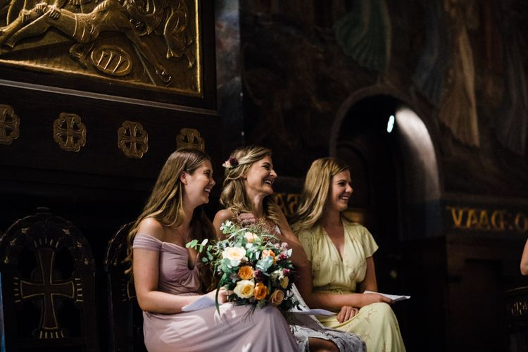 Church Wedding Ceremony | Bridesmaids in Pastel Dresses | Woodland Wedding in Oslo, Norway | Through The Woods We Ran