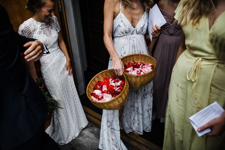 Confetti Baskets | Bride in Lace Watters Wtoo Lenora Wedding Dress | Woodland Wedding in Oslo, Norway | Through The Woods We Ran