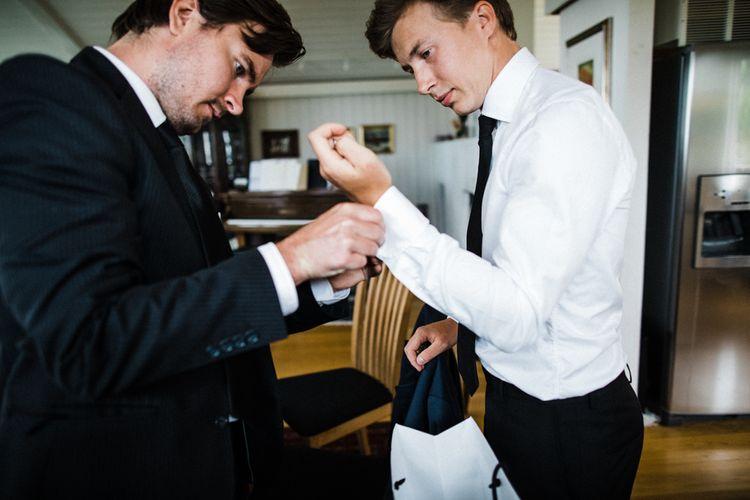 Wedding Morning | Groom in Black Tie | Woodland Wedding in Oslo, Norway | Through The Woods We Ran