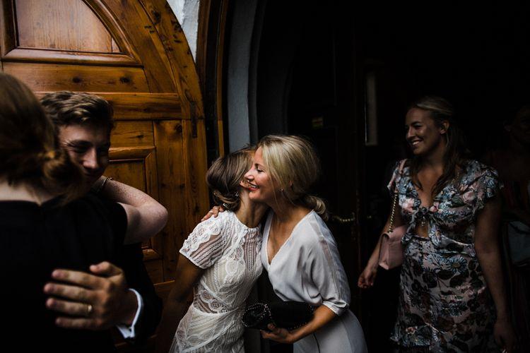 Bride in Lace Watters Wtoo Lenora Wedding Dress | Woodland Wedding in Oslo, Norway | Through The Woods We Ran