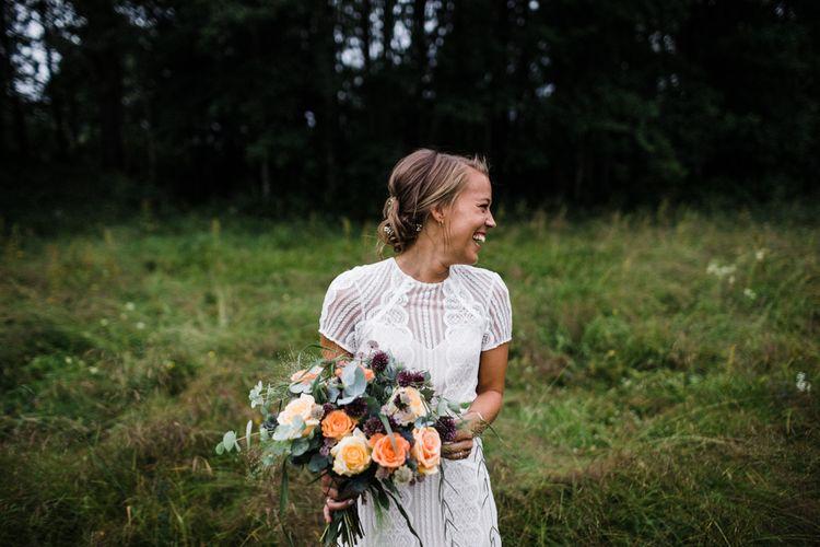Orange Rose Bridal Bouquet | Bride in Lace Watters Wtoo Lenora Wedding Dress | Groom in Black Tie Suit | Woodland Wedding in Oslo, Norway | Through The Woods We Ran