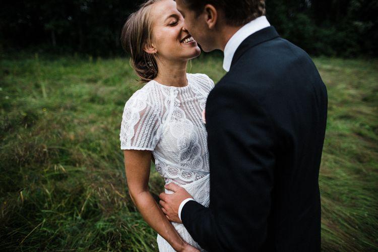 Bride in Lace Watters Wtoo Lenora Wedding Dress | Groom in Black Tie Suit | Woodland Wedding in Oslo, Norway | Through The Woods We Ran