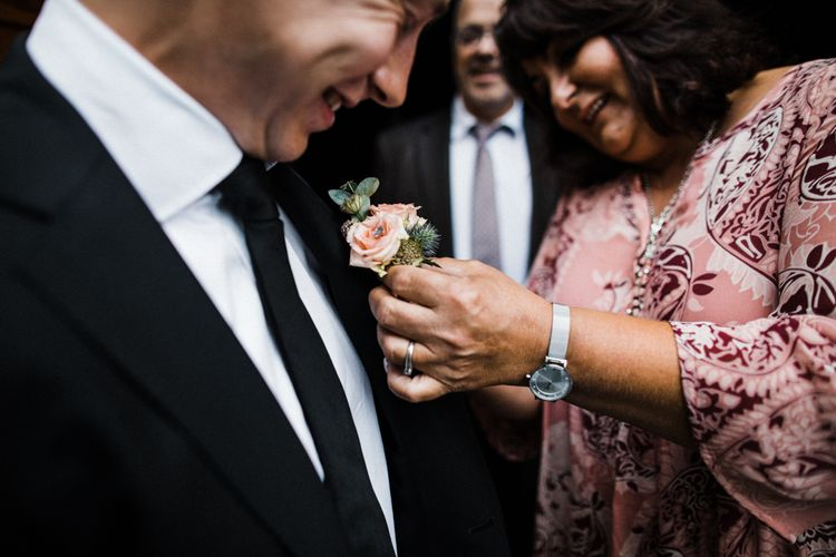 Pink Rose Buttonhole | Black Tie Suit | Woodland Wedding in Oslo, Norway | Through The Woods We Ran
