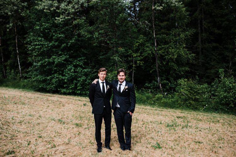 Groomsmen in Black Tie | Woodland Wedding in Oslo, Norway | Through The Woods We Ran