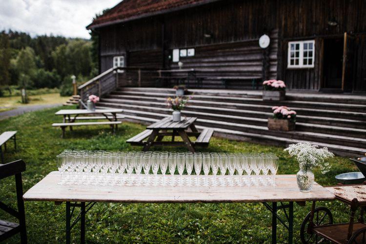 Drinks Reception | Woodland Wedding in Oslo, Norway | Through The Woods We Ran