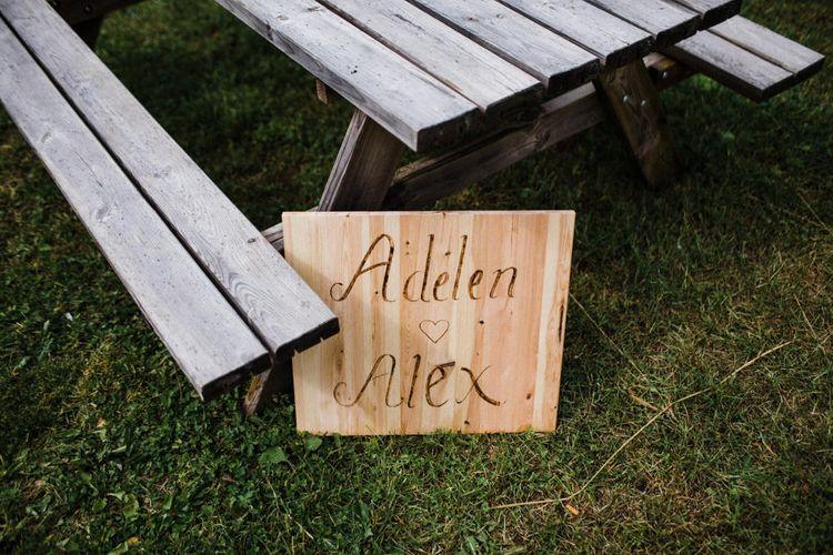 Wooden Wedding Sign | Woodland Wedding in Oslo, Norway | Through The Woods We Ran