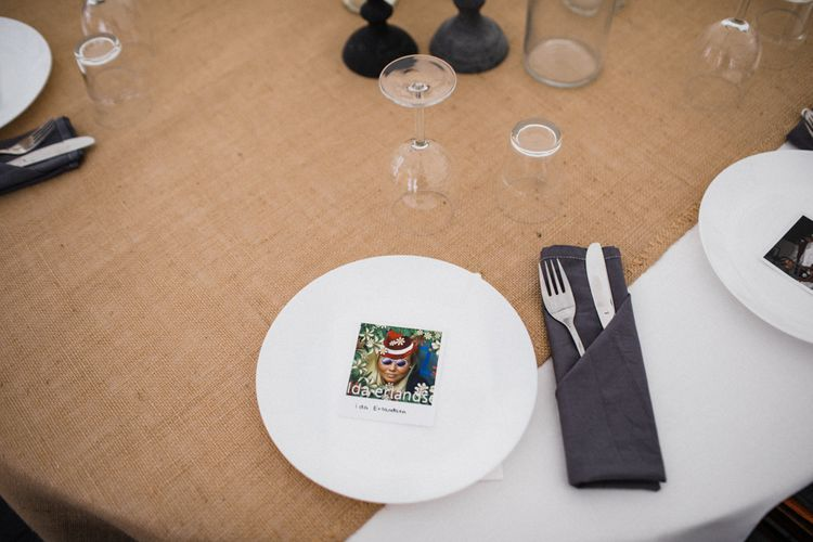 Polaroid Picture Place Setting | Woodland Wedding in Oslo, Norway | Through The Woods We Ran