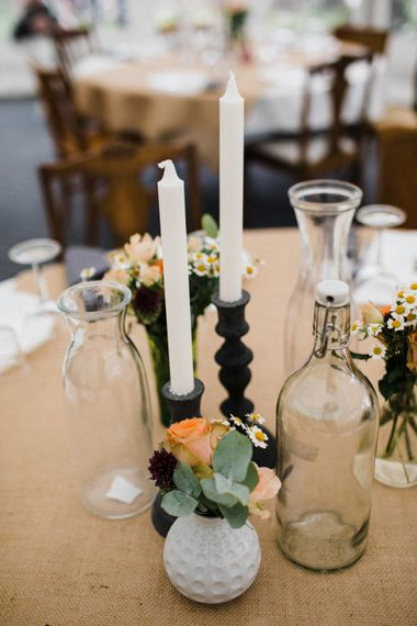 Candlestick Centrepieces | Woodland Wedding in Oslo, Norway | Through The Woods We Ran