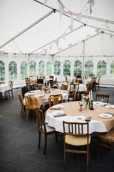 Marquee Reception | Bunting Wedding Decor | Woodland Wedding in Oslo, Norway | Through The Woods We Ran