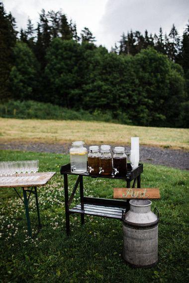 Drinks Dispensers | Woodland Wedding in Oslo, Norway | Through The Woods We Ran