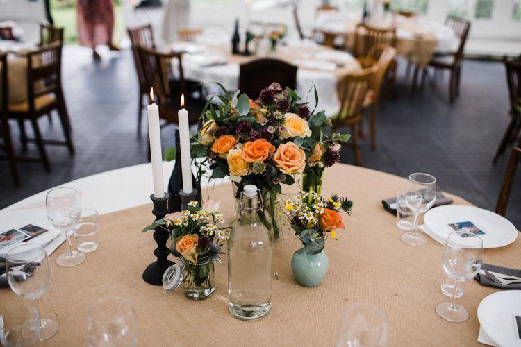 Orange Rose Flower Centrepiece | Woodland Wedding in Oslo, Norway | Through The Woods We Ran