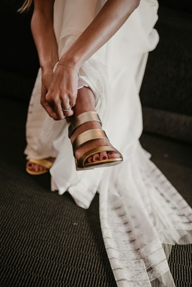 Gold Strappy Sandals | Authentic Spanish Wedding at Masia Ribas, Barcelona | Sara Lobla Photography