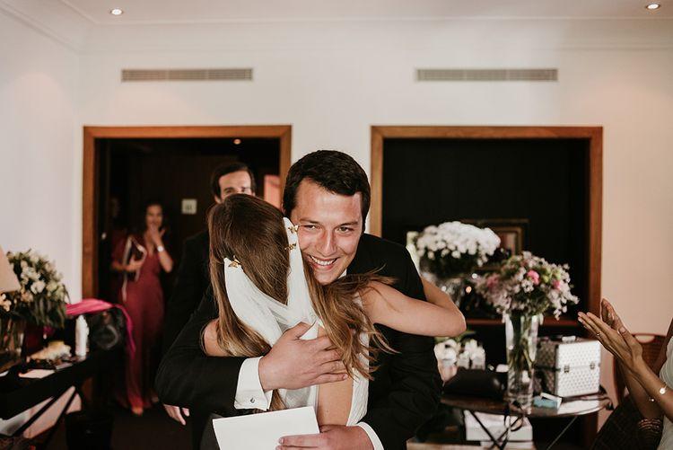 Wedding Morning Hugs | Authentic Spanish Wedding at Masia Ribas, Barcelona | Sara Lobla Photography