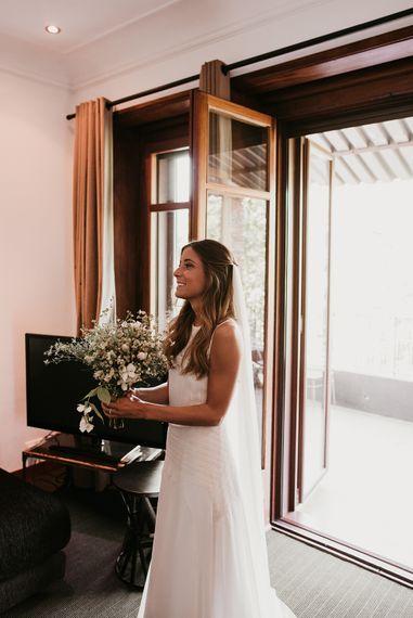 Wedding Morning Bridal Preparations | Bride in Teresa Helbig Wedding Dress | Authentic Spanish Wedding at Masia Ribas, Barcelona | Sara Lobla Photography