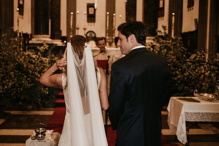 Wedding Ceremony | Bride in Simple & Elegant Teresa Helbig Wedding Dress  | Authentic Spanish Wedding at Masia Ribas, Barcelona | Sara Lobla Photography