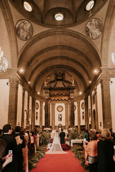 Church Wedding Ceremony | Bride in Simple & Elegant Teresa Helbig Wedding Dress  | Authentic Spanish Wedding at Masia Ribas, Barcelona | Sara Lobla Photography
