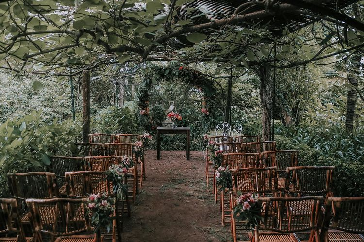 Outdoor Wedding Ceremony // Bamboo Furniture For Destination Wedding In Spain With Planning From El Mono Con Sombrero With Images By AHR Photos Spanish Wedding Photography