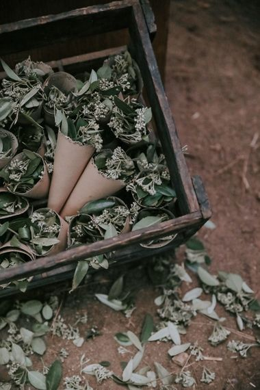 Foliage Confetti For Wedding // Bamboo Furniture For Destination Wedding In Spain With Planning From El Mono Con Sombrero With Images By AHR Photos Spanish Wedding Photography