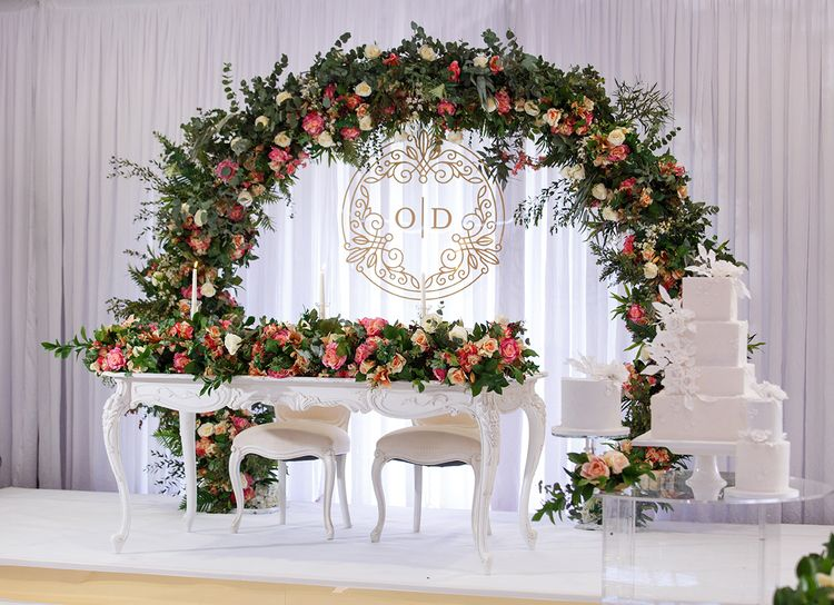 Sweetheart Table With Floral Arch Backdrop