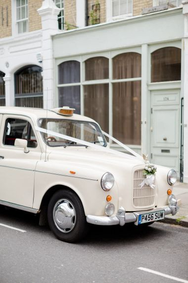 White London Taxi Cab Wedding Car