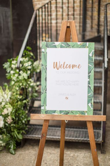 Botanical Green and Gold Wedding Welcome Sign