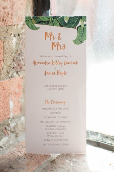 Botanical Green and Gold Order of Service Wedding Stationery