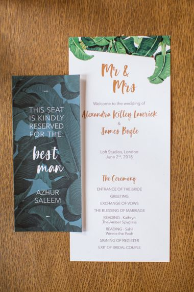 Botanical Green and Gold Order of Service On The Day Wedding Stationery and Reserved Seat Sign