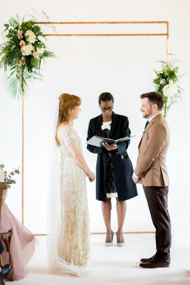 Wedding Ceremony with Bride in Jenny Packham Cassiopeia Wedding Dress with Groom in Brown Trousers and Blazer