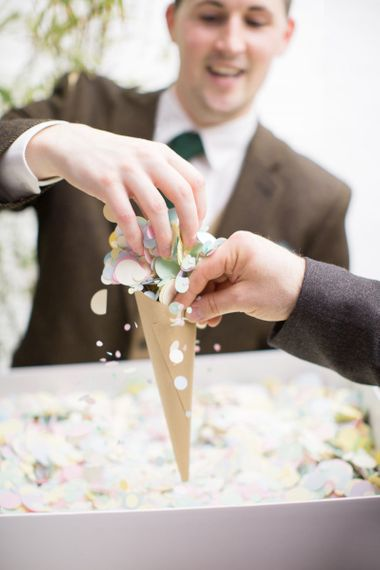 Craft Paper Confetti Cone with Pastel Confetti