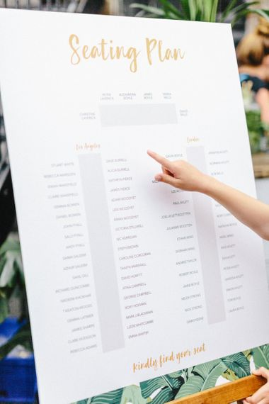 White and Gold Seating Chart on Easel