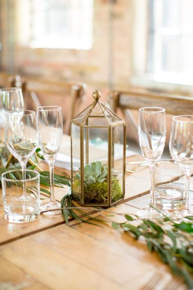 Moss and Succulent Filled Terrarium Centrepiece