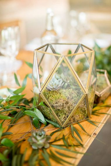Moss and Succulent Filled Geometric Vase