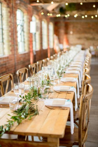 Long Wooden Table and Chairs for Wedding Reception