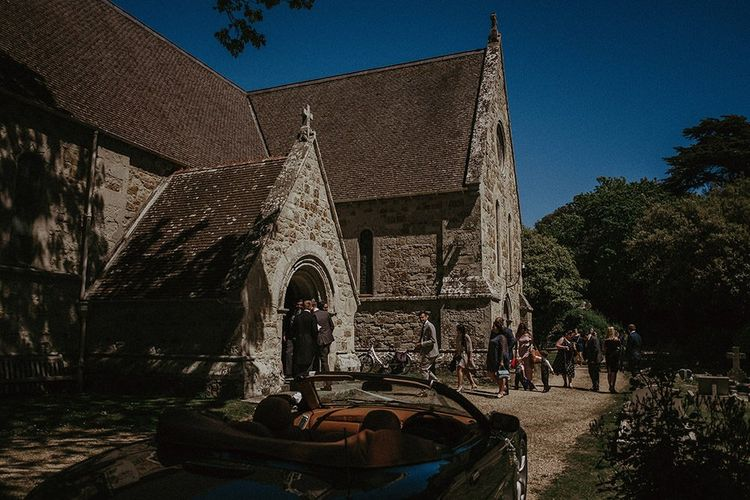 Outside of the church for a traditional wedding ceremony in the Isle of Wight