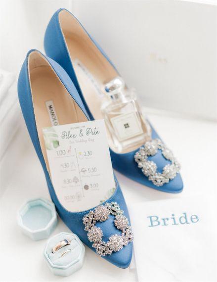 Blue Manolo Blahnik Hangisi Wedding Pumps